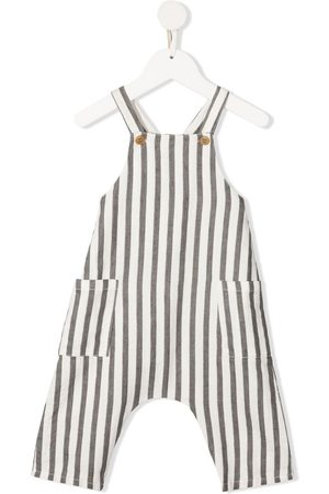 Zhoe & Tobiah Baby Rompers - Striped linen dungarees