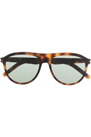 Saint Laurent Men Sunglasses - Tortoiseshell-effect tinted sunglasses