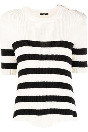 Balmain Striped knitted top