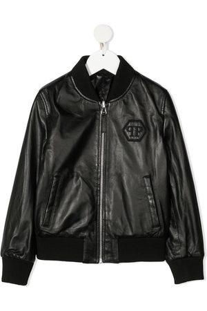 Philipp Plein Boys Bomber Jackets - Embroidered logo bomber jacket