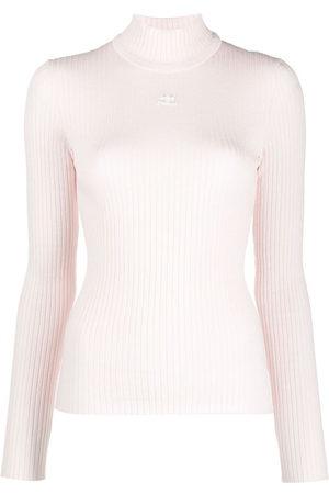Courrèges Women Jumpers - Logo print ribbed knit jumper