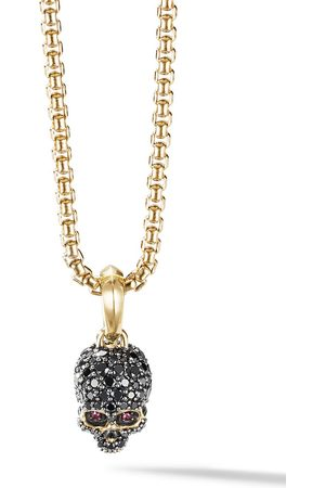 David Yurman Men Necklaces - 18kt yellow gold diamond pavé Skull amulet