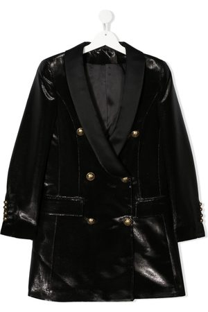 Balmain TEEN velvet-effect double-breasted jacket
