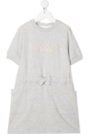Chloé Girls Casual Dresses - Embroidered-logo drawstring-waist dress
