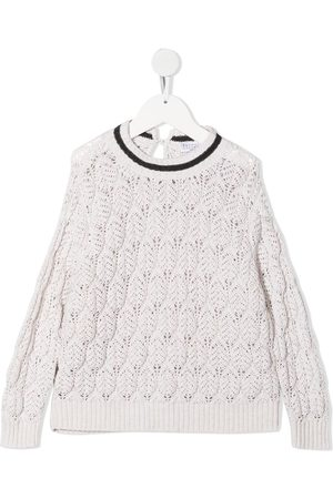 Brunello Cucinelli Girls Jumpers - Perforated knit jumper