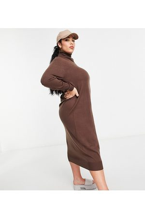 COLLUSION Plus roll neck jumper dress in chocolate