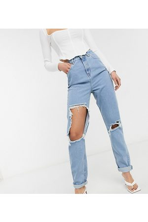 ASOS ASOS DESIGN Tall high rise 'original' mom in midwash with rips