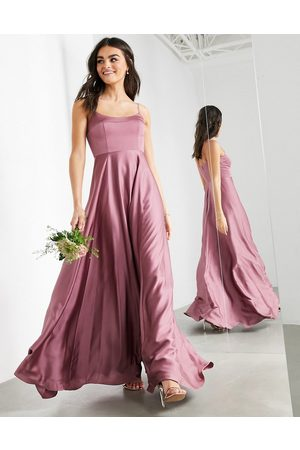 ASOS Satin cami maxi dress with square neck in orchid