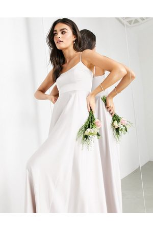ASOS Satin cami maxi dress with square neck in pale