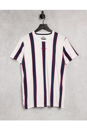Hollister Central logo vertical stripes t-shirt in /white/blue