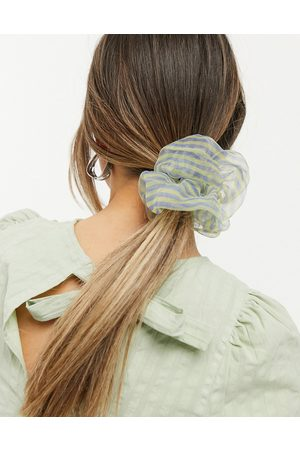 Pieces Organza hair scrunchie in blue and yellow stripe-Multi