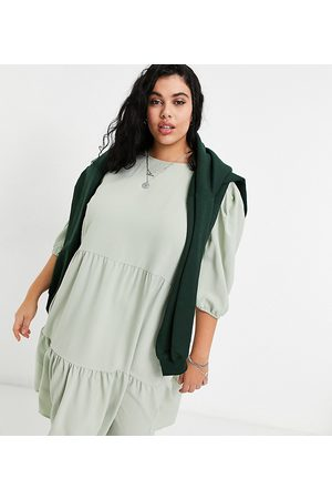 Only Midi smock dress with tiering in sage