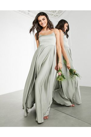 ASOS Satin cami maxi dress with square neck in sage