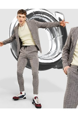 ASOS Skinny soft tailored suit trouser in burgundy herringbone