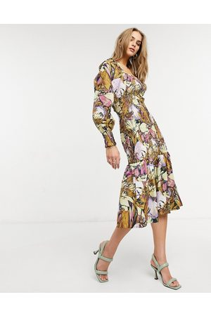 Y.A.S Midi dress with square neck and shirred body in floral print-Multi