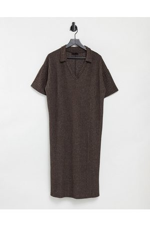ASOS Women Casual Dresses - Ribbed midi v neck dress with collar in brown