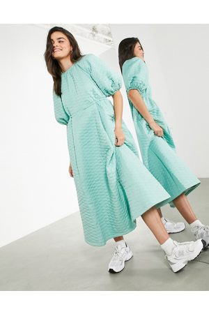 ASOS Quilted midi dress in sage