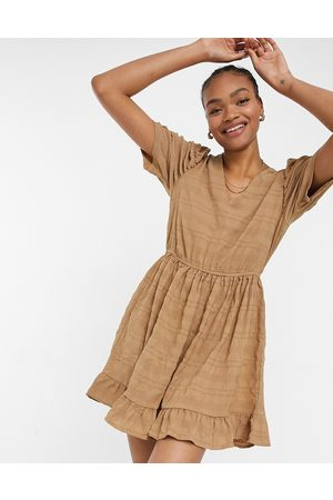 Vila Women Casual Dresses - Smock dress with puff sleeves in textured camel
