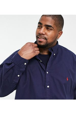 Polo Ralph Lauren Men Chinos - Big & Tall garment dyed chino player logo shirt button down custom regular fit in navy