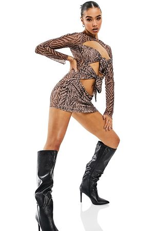 AsYou Women Printed Dresses - Mesh dress in zebra print-Multi