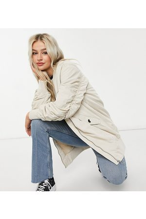 ONLY Longline bomber jacket with ruched sleeves in stone-Neutral