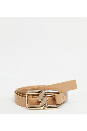 My Accessories Curve My Accessories London Curve Exclusive waist and hip belt with chain in camel-Neutral