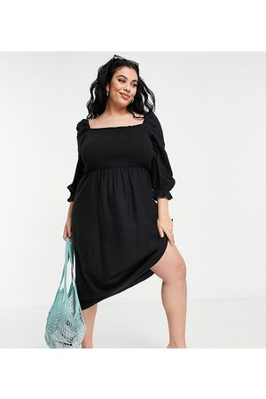 New Look New Look Curve textured shirred midi dress in