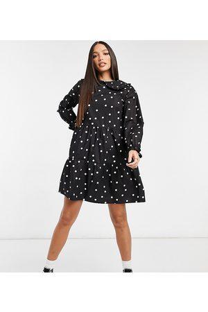 New Look Women Casual Dresses - Poplin spot frill collar mini dress in pattern