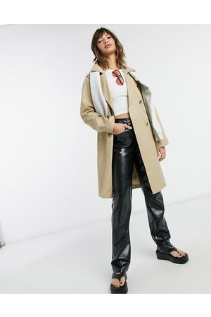 SELECTED Femme double breasted trench coat in -Neutral
