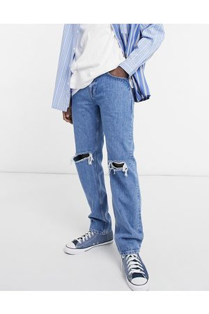 ASOS Men Straight - Original fit jeans in mid wash with knee rips