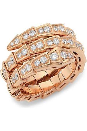BVLGARI Rings - Serpenti Viper 18K Rose & Pavé Diamond 2-Coil Ring