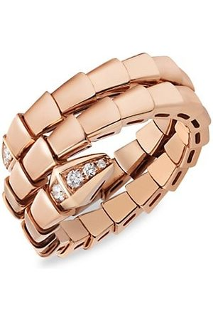 BVLGARI Serpenti Viper 18K Rose & Diamond 2-Coil Ring