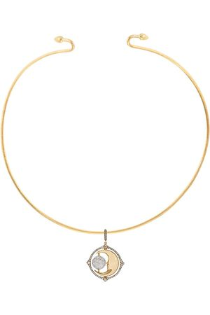 ANNOUSHKA 18kt yellow and white Mythology diamond spinning moon choker