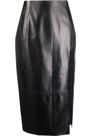 DROME Leather midi pencil skirt