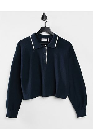 Weekday Women Jumpers - Helga knitted polo sweater in navy