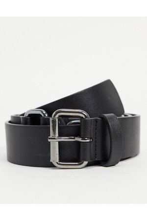 ASOS Slim belt in faux leather with D ring detail in gunmetal
