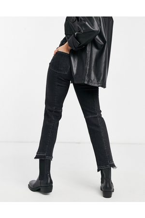 AllSaints Two tone jeans with deconstructed hem in black