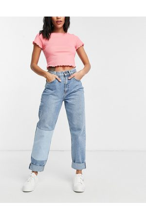 ASOS High rise 'slouchy' mom patchwork jeans in midwash