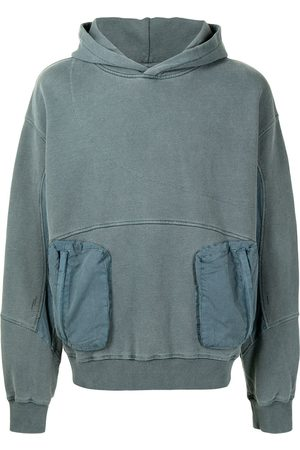 C2H4 Panelled cotton hoodie