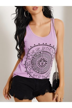 YOINS BASICS Disk Letter Round Neck Casual Tank Top