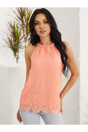 YOINS Lace Tie-up Design Halter Sleeveless Cami