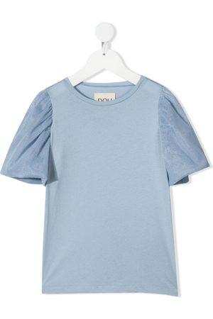 DOUUOD KIDS Tulle sleeve cotton T-shirt