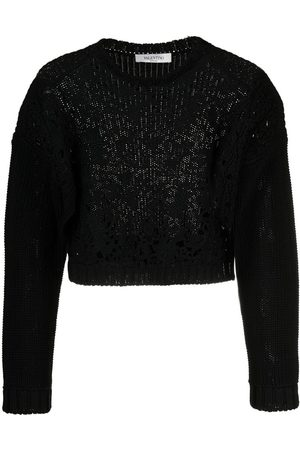 VALENTINO Cropped lace-front jumper