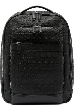 Salvatore Ferragamo Men Rucksacks - Gancini embossed leather backpack