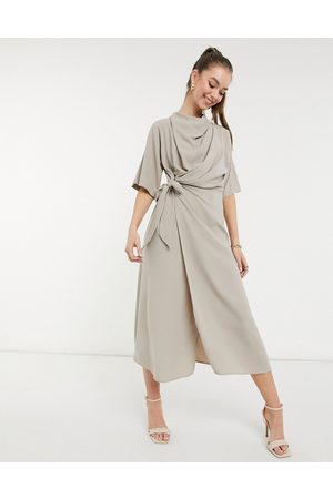ASOS Women Evening Dresses - Cowl neck midi dress with wrap skirt in taupe-Neutral
