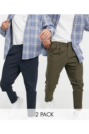 ASOS 2 pack cigarette fit ankle grazer chino trousers in navy and khaki save-Multi