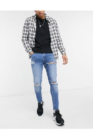 ASOS Men Skinny - Skinny jeans in mid wash with heavy rips