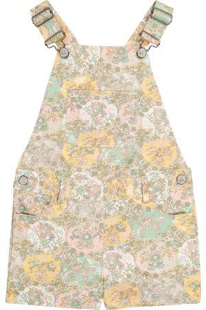 BONPOINT Girls Printed Dresses - Saga Liberty floral cotton overalls