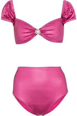 Alessandra Rich Embellished off-shoulder bikini top