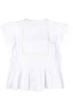 Giambattista Valli Women Blouses - Lace-insert cotton blouse